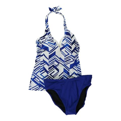 Profile Womens Geometric Brief 2 Piece Tankini, Blue, 32D