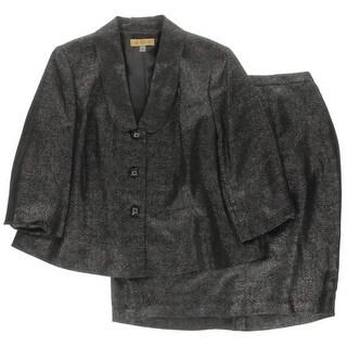 Kasper Womens Plus Skirt Suit Taffeta Metallic - 20W