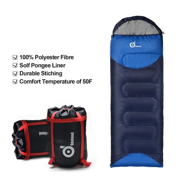 ODOLAND Cool Weather 50F Portable Sleeping Bag Best 3Season Sleeping Bag w/ Compression Package