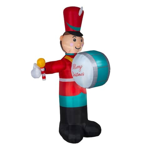 8' Red and Blue Drumming Soldier Outdoor Inflatable Christmas Decor