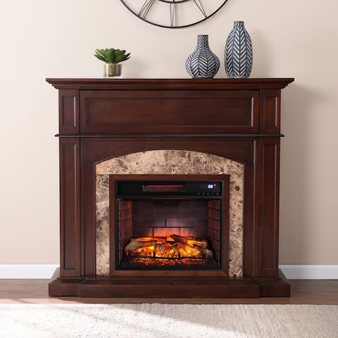 Copper Grove Fairfield Traditional Wood Media Electric Fireplace