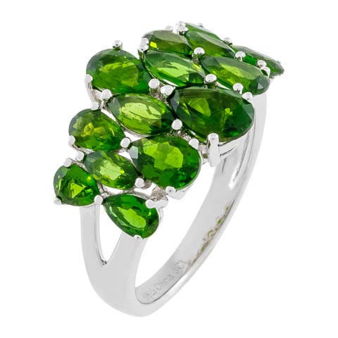 Graduated Pear-Shaped Chrome Diopside Cluster Ring, Sterling Silver