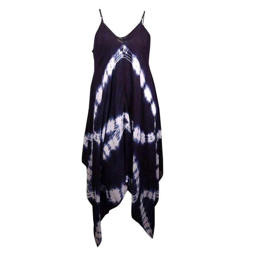 Raviya Womens Tie-Dye Handkerchief Maxi Dress Swim Cover-Up