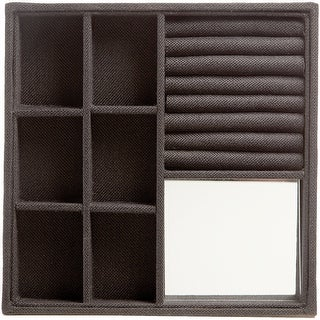 "Sectioned Jewelry Tray 10.5""X10.5""X1.5""-Black Burlap"