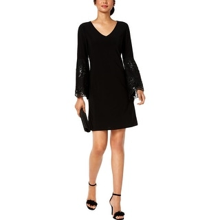 MSK Womens Party Dress Sequined Bell Sleeves