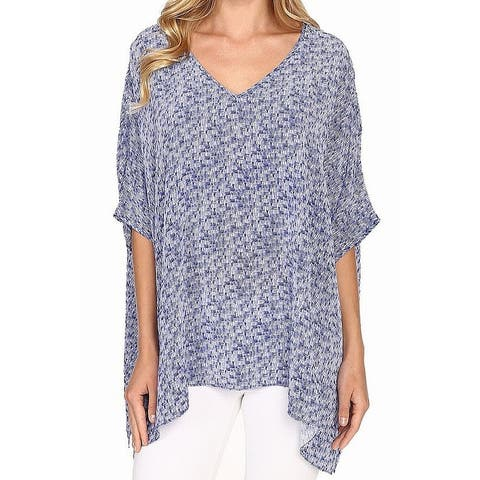 NIC+ZOE Blue White Womens Size Medium M Printed V-Neck Blouse