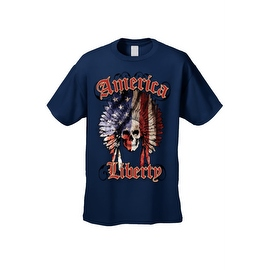 Men's T-Shirt American Liberty USA Flag Feathers Skull Native Chief Freedom Tee