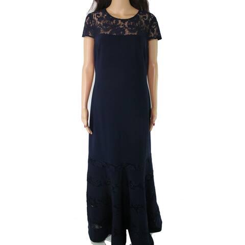 Lauren By Ralph Lauren Women's Dress Navy Lace Trim Gown