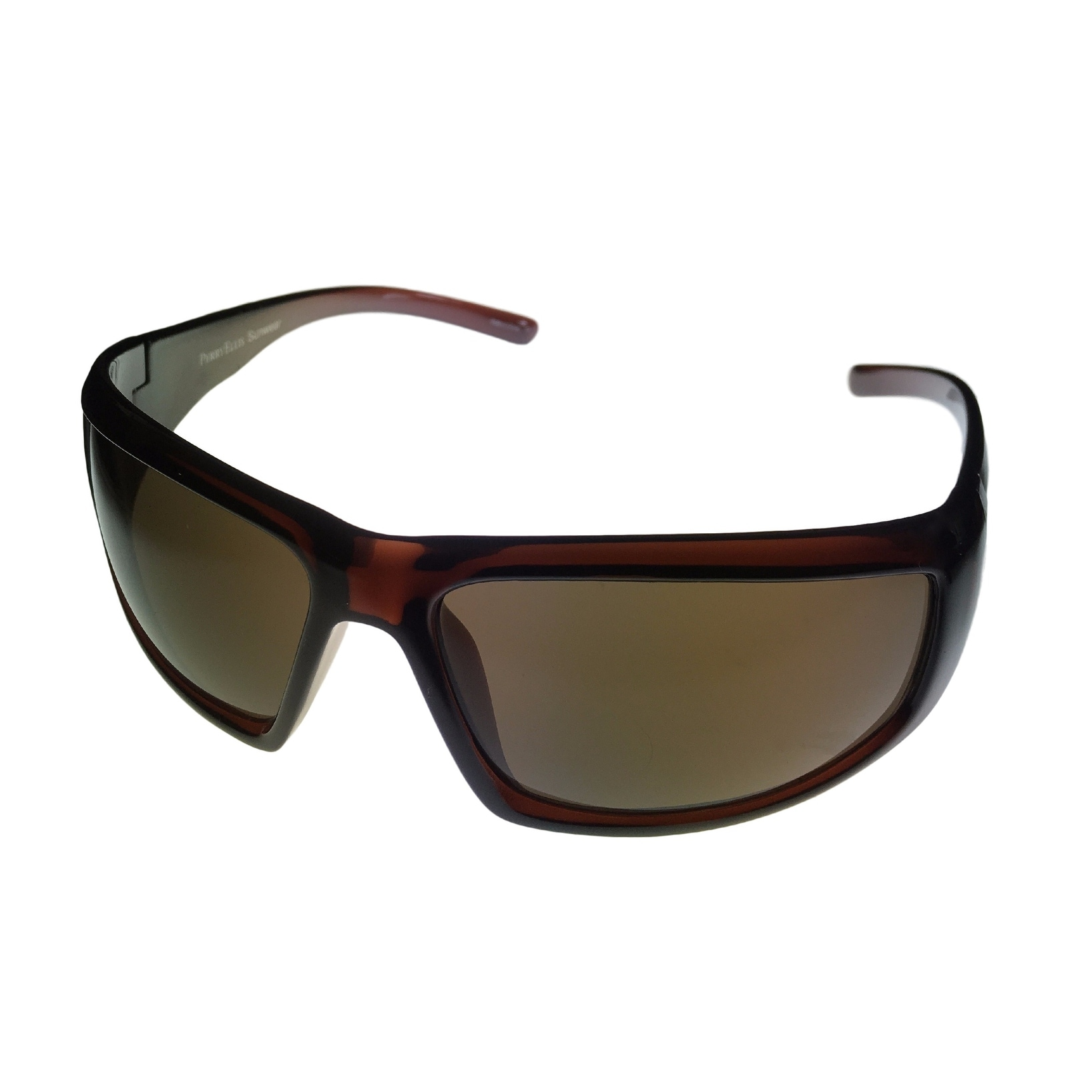 Perry Ellis Mens Sunglass PE17 1 Dark Crystal Brown Plastic Wrap, Gradient Lens - Medium - Thumbnail 0