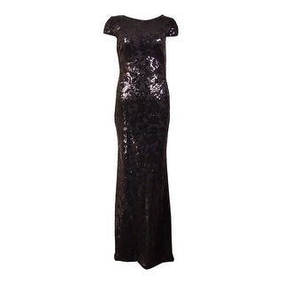 Calvin Klein Women's Cowl-Back Cap Sleeves Sequined Gown