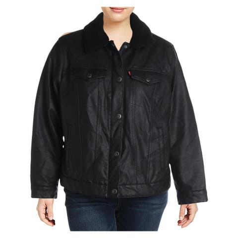 Levi Strauss & Co. Womens Plus Trucker Coat Faux Leather Hip-Length - Black