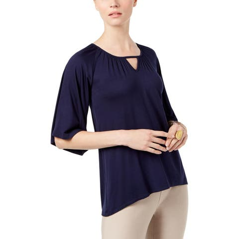 Cable & Gauge Womens Pullover Top Elbow Sleeves Keyhole
