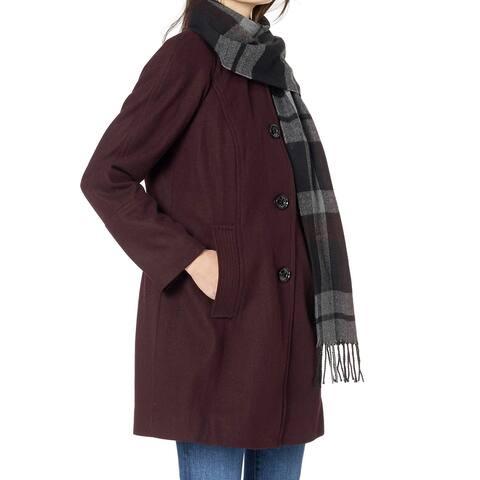 London Fog Women's Coat Deep Purple Size Medium M Plaid Scarf Wool