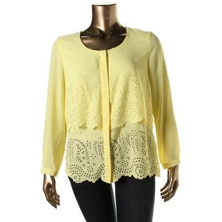 NY Collection Womens Laser Cut Tiered Button-Down Top - S