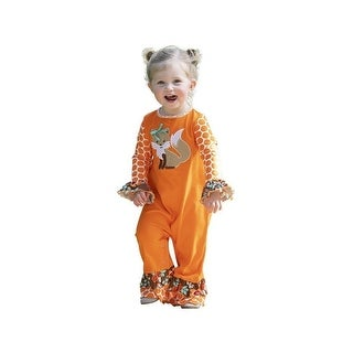 AnnLoren Baby Girls Orange Boutique Embroidered Fox Floral Ruffles Romper