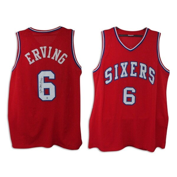 brand new a95c4 9600c Julius Erving Philadelphia 76ers Autographed Red Throwback Jersey Inscribed
