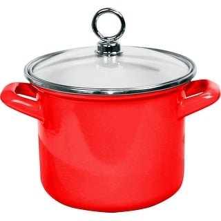 "Link to Calypso Basics by Reston Lloyd Enamel on Steel Stockpot with Glass Lid, 2.5-Quart, Red -  9.25"" x 7.5"" x 8"" Similar Items in Cookware"