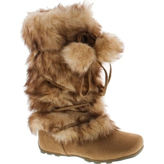 Blossom Womens Tara-Hi Pom Pom Winter Fashion Boots - Camel