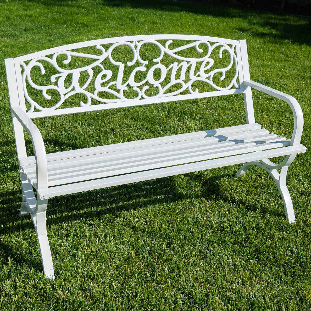 Belleze Outdoor Park Bench 50 inch Welcome Elegance Design Seat Backyard Steel Frame (White)