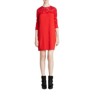 DKNY Womens Cocktail Dress Crepe Lace-Trim