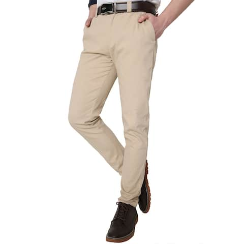 Men Classic Side Pockets Cotton Slim Tapered Flat Front Casual Pants