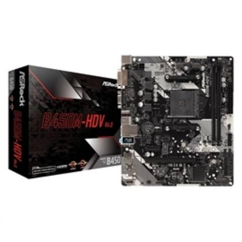 ASRock Motherboard B450M-HDV R4.0 AMD AM4 B450 Max32GB DDR4 PCIE Micro ATX Windows 10 Retail - Black