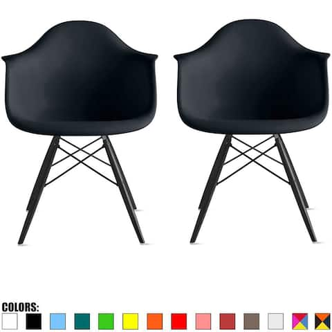 2xhome Set of 2 Color Modern Arm Chairs For Dining Room Kitchen Solid Molded Plastic Seat Dark Black Wood Eiffel Legs DSW