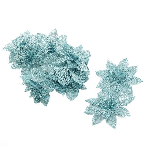 Christmas Tree Artificial Glitter Hanging Ornaments Flower 10 Pcs - Pale Blue