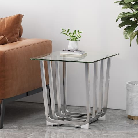 """Pitzen Modern Glass Top Side Table by Christopher Knight Home - 22.00"""" L x 23.75"""" W x 22.00"""" H"""