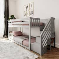 Allentown White Pinewood Twin Over Twin Bunk Bed With Storage Ladder And Trundle On Sale Overstock 12636819