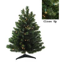 3' Pre-Lit Natural Two-Tone Pine Artificial Christmas Tree - Clear Lights