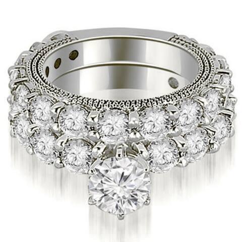 4.65 CT Antique Milgrain Round Cut Diamond Engagement Set in 14KT Gold - White H-I