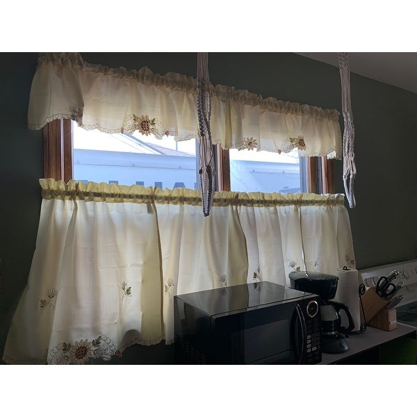 """Sunflower Cream Embroidered Kitchen Curtains 36/"""" Tier Swag /& Valance Set"""