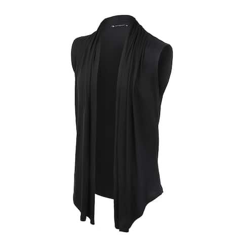 Men Casual Open Front Sleeveless irregular Hem Cardigan Vest with no Button - Black