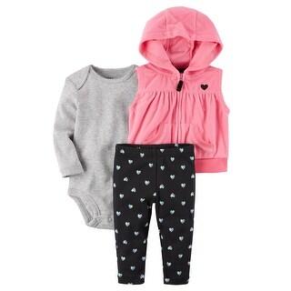 Carter's Baby Girls' 3-Piece Little Microfleece Vest Set- Hearts - 6 Months
