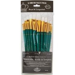 12/Pkg - White Taklon Value Pack Brush Set