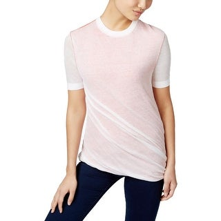 DKNY Womens Casual Top Ruched Crew Neck