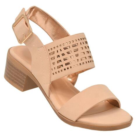 Lov Mark Little Girls Nude Cut-Out Panel Low Block Heel Sandals