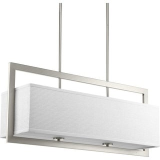 """Progress Lighting P4759 Harmony 4 Light 34"""" Wide Linear Chandelier with Etched Diffuser and Linen Shade"""