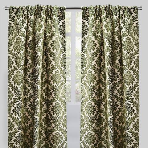 "Rodeo Home Rod Pocket Georgina Damask Curtains (Set of 2) - 54"" x 96"" - 54"" x 96"""