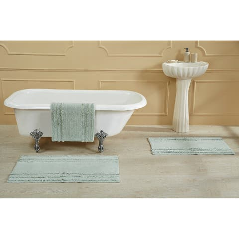 Better Trends Ruffled Border Collection 100% Cotton Tufted Bath Mat Rug