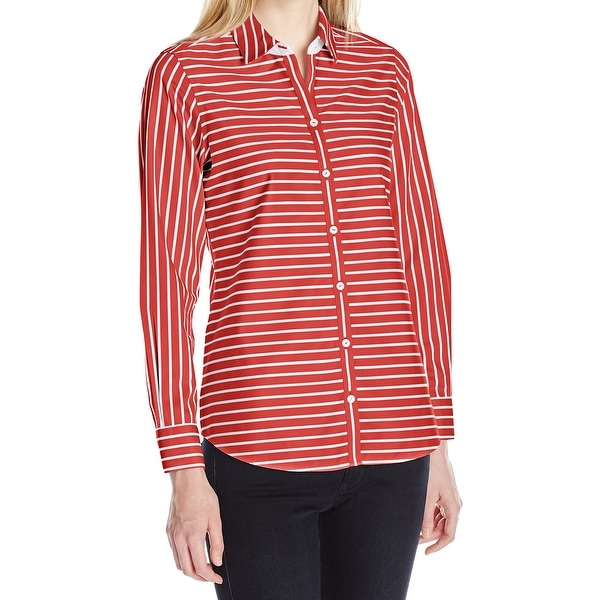 5817c5d98d5739 Shop Foxcroft NEW Red White Womens Size 24W Plus Striped Button Down ...