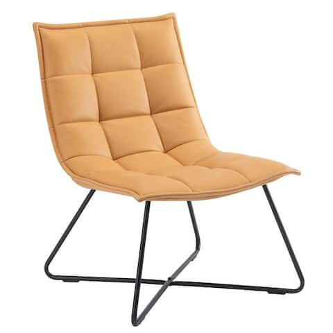 Faux leather Side Chairs Armless Lounge Chairs Accent Chair,Steel Leg