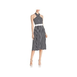 MICHAEL Michael Kors Womens Midi Dress Polka Dot Halter