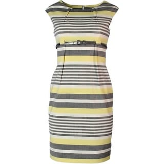 Calvin Klein Womens Petites Striped Cap Sleeves Wear to Work Dress
