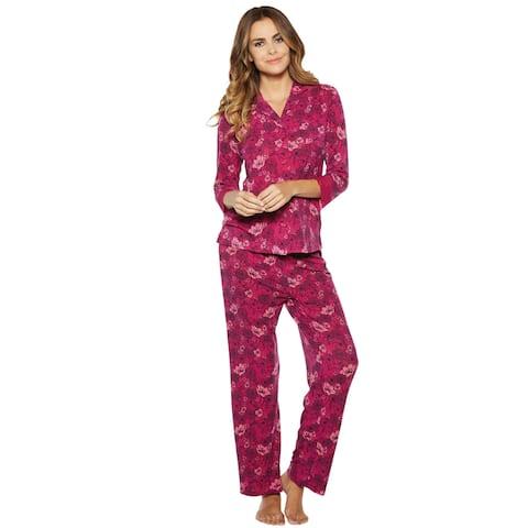 7552e55b0b1 Ahh By Rhonda Shear Women s Print PJ Set - 3 4-Sleeve Pajama Top