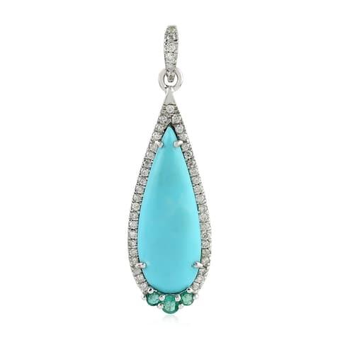 18kt White Gold Diamond Emerald Turquoise Pendants Gemstone Jewelry With Jewelry Box