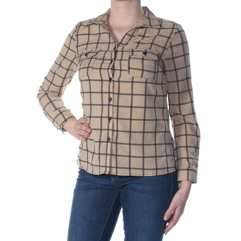 NY COLLECTION Beige Cuffed Button Up Top Size M