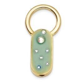 Goldtone Green Enamel w/Crystals Key Fob