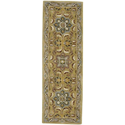 """One of a Kind Hand-Tufted Persian 8' Runner Oriental Wool Gold Rug - 2'2""""x6'10"""""""